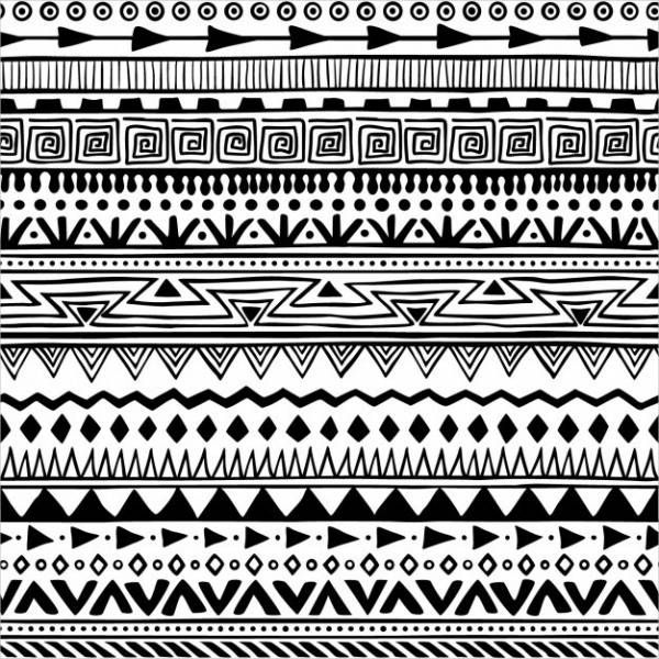 Black White Boho Style Pattern Ethnische Muster Muster Malen Aztekische Muster