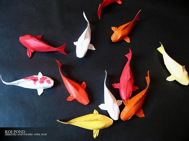 Koi Pond Origami - I love these fish, but the video is pretty amazing in that it's animated with no hands!!! watch the video - bjl