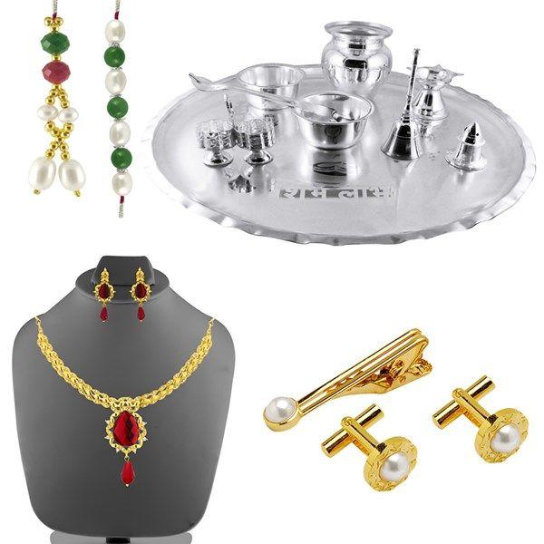 Jpearls Raksha Bandhan Special Bhaiya-Bhabhi Puja Thali | Silver Plated Puja Thali | Red Stone Necklace Set | Pearl Cufflinks & Tie Pin Set | Bhaiya Bhabhi Rakhis | Pearl Rakhi | Pearl Lumba  #silverplate #puresilver #silveraccessories #gifthamper #rakshabandhan #rakhigifts