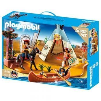 SuperSet Native American Camp - Take a seat in the large teepee with the SuperSet Native American Camp. The large canoe can seat two PLAYMOBIL figures, while another figure can ride on horseback with the wild stallion. Price : $29.90 http://www.thinkfasttoys.com/PLAYMOBIL®-4012-SuperSet-Native-American/dp/B0046VKJJQ