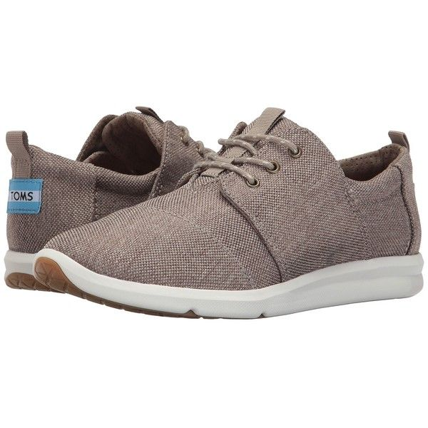 TOMS Del Rey Sneaker (Desert Taupe Poly Canvas) Women's Lace up casual... ($79) ❤ liked on Polyvore featuring shoes and sneakers
