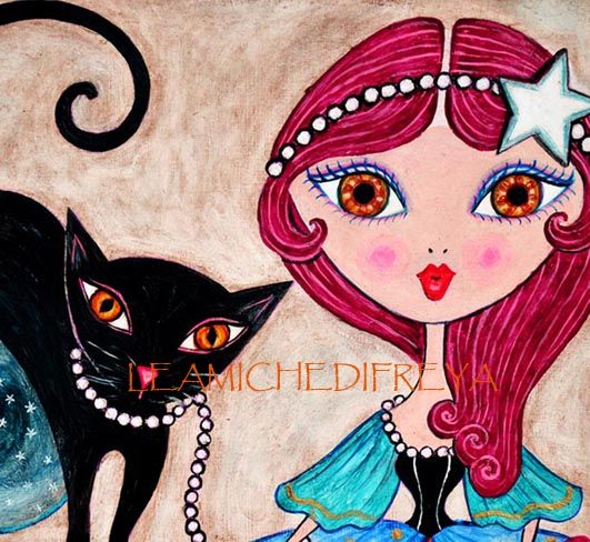 """""""Ester & Luna"""" Painting on wood by the danish/sardinian artist Sara Bachmann from her latest project: Le Amiche di Freya (Freya's girlfriends) See much more on facebook: Leamichedifreya Fabbrichelucide"""