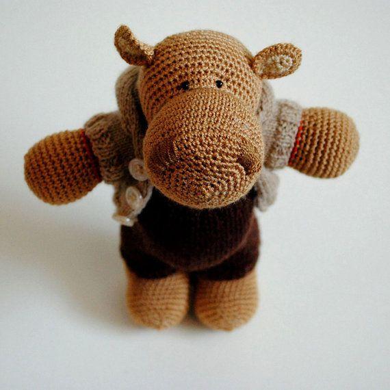 Hippo Harry Lovely Handmade Stuffed Toy Stuffed door LoveKnitsToys