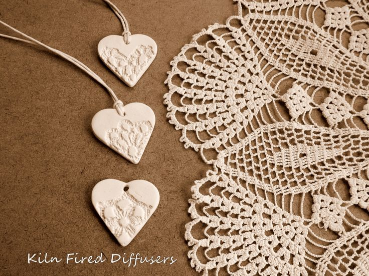 Bridesmaid Jewelry, Wedding Favor, Ceramic Pottery Gift Tags, Heart Ornament, White Shabby Chic, Aromatherapy Diffuser, - pinned by pin4etsy.com