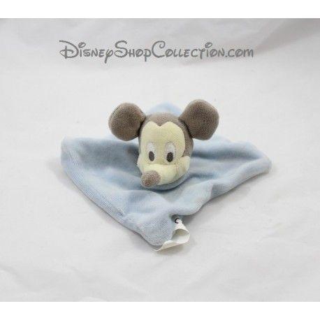 Doudou plat Mickey DISNEY NICOTOY carré bleu gris 15 cm