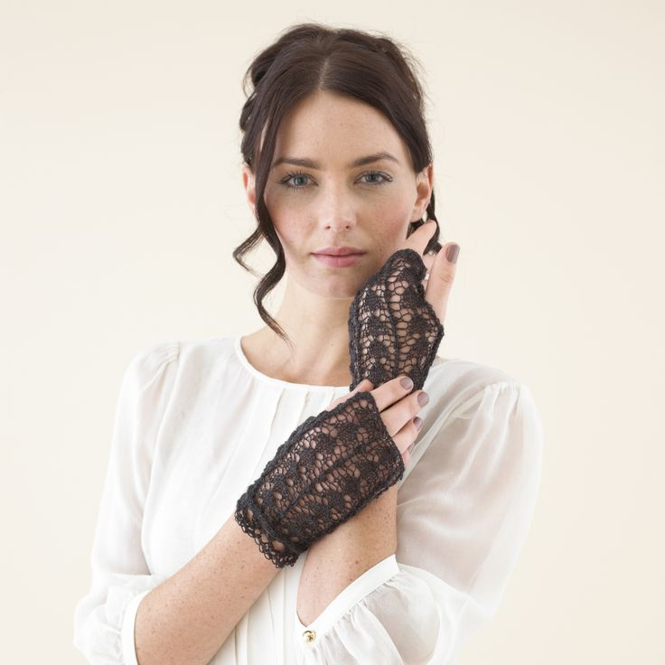 Smoky Cinder grey lace mitts - from the Sublime extra fine merino lace accessories book 675