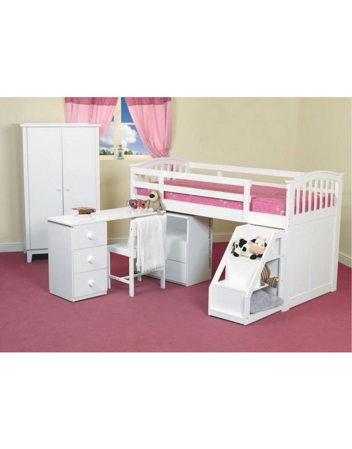 Kipling Mid Sleeper White Desk Open Furniture Beds