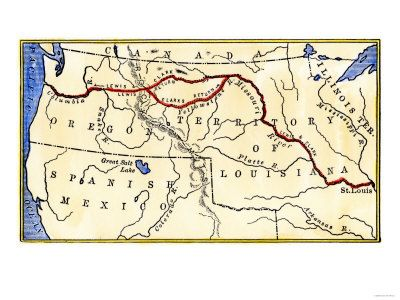 Map of the Lewis and Clark Route across Louisiana Territory, c.1804-1806  huge geography resource!!!!