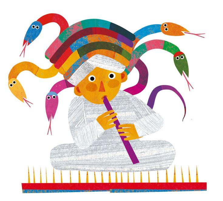 Il fachiro Biancatesta- da 18 mesi- si apre senza parole: c'è un fachiro con un flauto, seduto su un letto di chiodi, e una cesta vuota; solleviamo l'aletta e dentro la cesta intravediamo le teste di cinque serpenti. Il bambino è invitato a entrare nel libro piano piano, in silenzio, osservando prima di tutto le belle illustrazioni di Giulia Orecchia. Si volta pagina e comincia la filastrocca: Il famoso fachiro Biancatesta / ha cinque serpenti nella cesta. / Entra e grida forte il gatto / e…