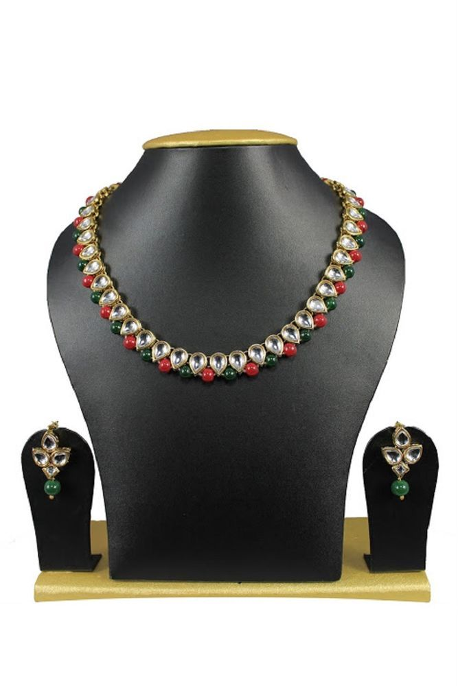 Indian Bollywood  Red & Green Pearls Designer Party Wear Necklace Set #natural_gems15