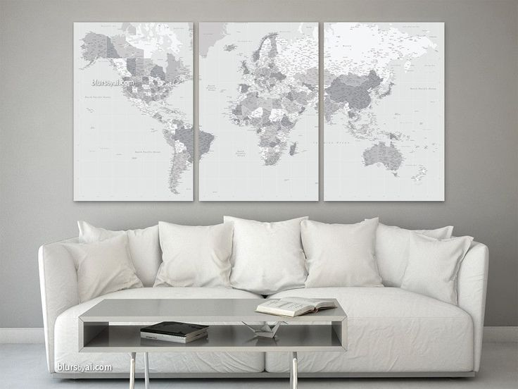 Grayscale multi panel world map canvas print, highly detailed world map with cities. Color combination: Cristina