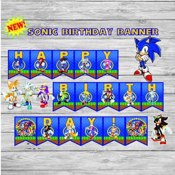 Sonic Birthday Banner Sonic The Hedgehog Birthday Birthday Sonic Birthday Sonic Party Hedgehog Birthday