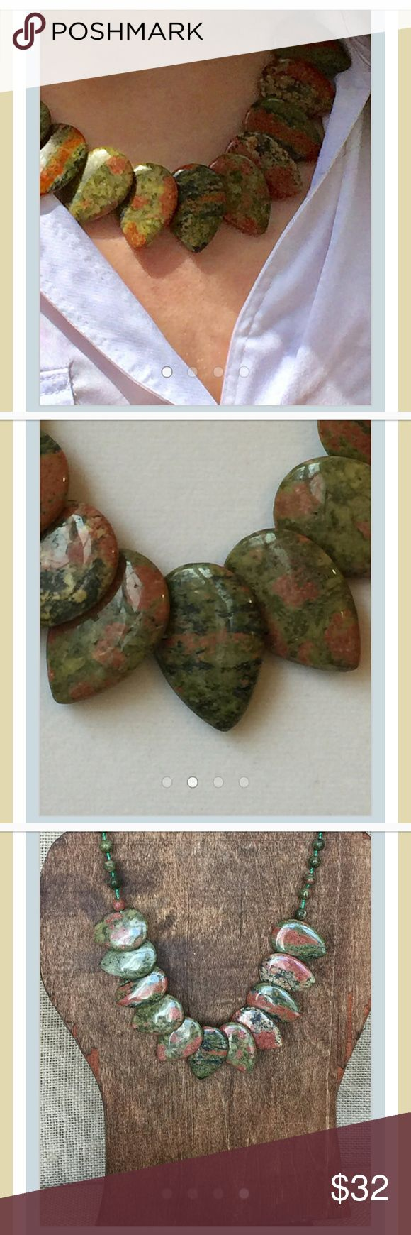 Unakite Layered Necklace Beautiful rust and moss greenmingle in multi-layers of rich Unakite.This custom made necklace is very unique, and a great Fall piece. Length: 18 in Country of Origin: South Africa Jewelry Necklaces