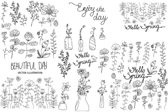 set of vector floral elements by Lesia.kabakova on @creativemarket