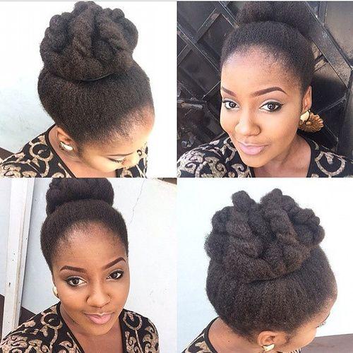 high bun hairstyle