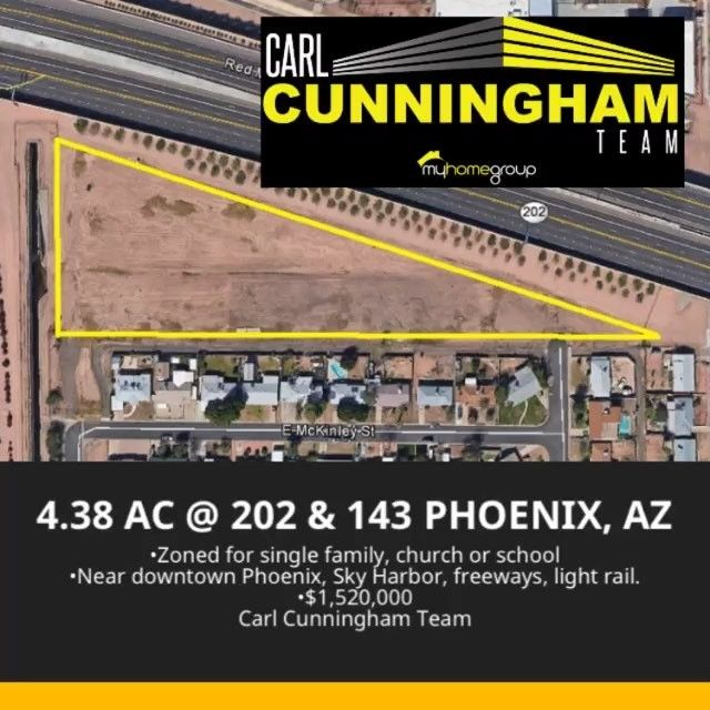 Don't miss this opportunity to acquire this 4.32 AC near 202 and 143 in Phoenix. Build 25 single family homes, a school, or a church. 4604 E McKinley, Phoenix, AZ 85008 #CarlCunninghamTeam #MyHomeGroup #Phoenix #Arizona #CRE #land #ForSale #milliondollarlisting #RealEstate #commercialrealestate #realtor #MLS #LoopNet #CoStar #localrealtors - posted by Carl Cunningham, Real Estate https://www.instagram.com/carlcunninghamteam - See more Real Estate photos from Local Realtors at…