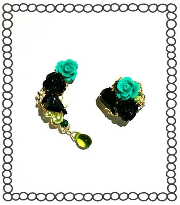 ジャスミンイメージで作りました(^_^)Vジャスミンの黒髪を黒薔薇とブラックビジューで、全体的なイメージの薔薇、黄緑色のパール、スワロフスキーエメラルド、雫は... ハンドメイド、手作り、手仕事品の通販・販売・購入ならCreema。