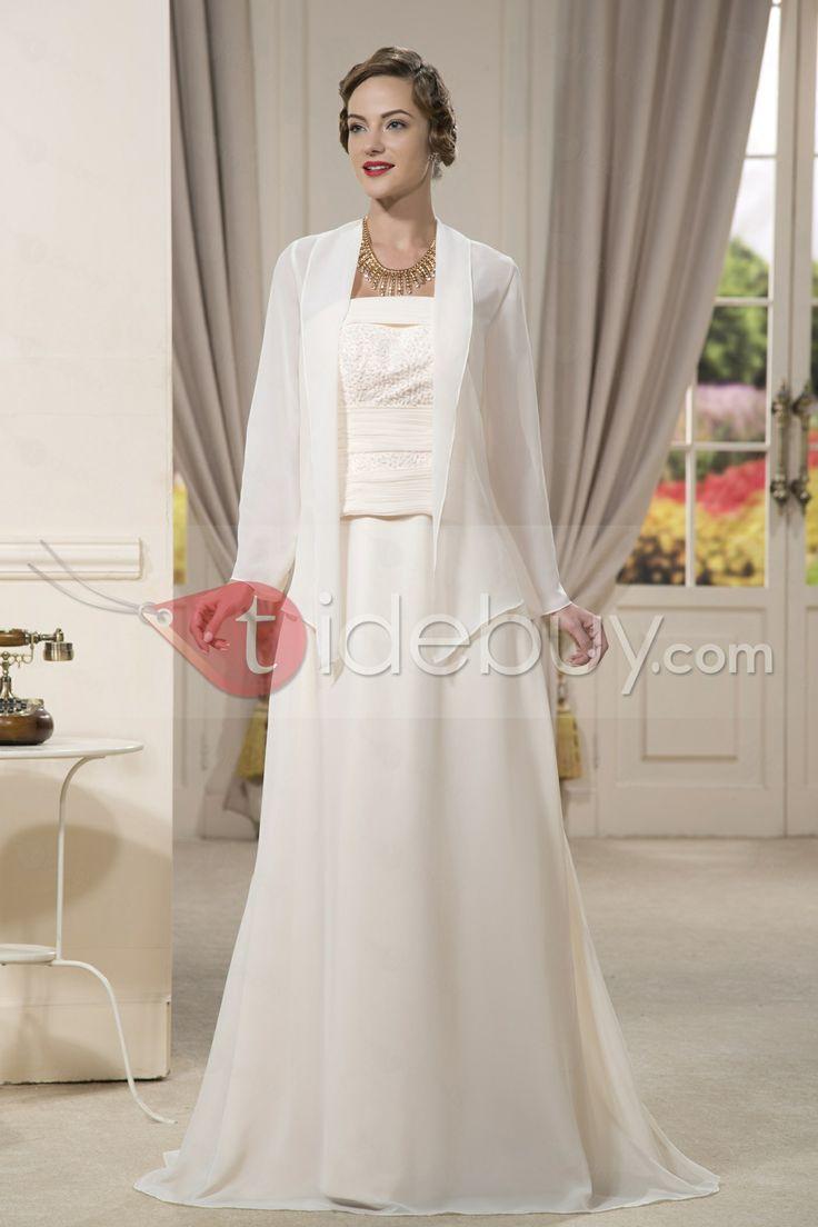 優雅なビーズシースストラップレス床まで届く長さ花嫁さんの母のドレス