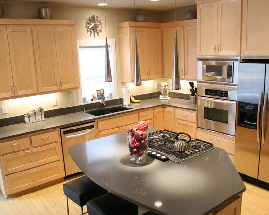 Luxury Quartz Countertops with Maple Cabinets