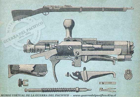 Fusil Kropatscheck de Marina  Modelo 1878. Primer fusil de repetición, sistema similar del Henrry & Winchester 1873. Tenía capacidad en el tubo para 9 balas,La patente fue registrada en Francia ya que a su inventor, un alto oficial del ejército austriaco, le fue negada. Es una modificación al sistema Grass 1874 Este modelo de fusil Kropatschek fue utilizado únicamente por la Marina de Guerra de Chile y en el año 1881 llegaron a unas 2.000 unidades.