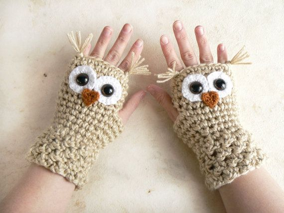 Crochet Owl Fingerless Gloves Wrist Warmers with Brown Safety Eyes and Beige-Wheat Acrylic Yarn in Choice of All Womans sizes: Too fun to