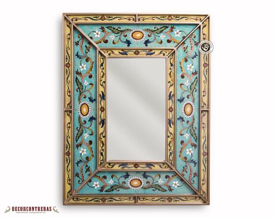 Peruvian Decorative Mirror Arts Crafts Mirror Wall Vanity Mirror Hand Painted Glass Wood Rectangular Wall Mirror Hangings Wall Mirror Mirror Decor Mirror Art Hanging Wall Mirror