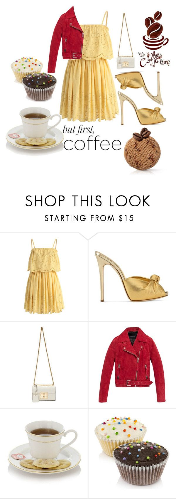 """""""#coffeebreak"""" by siri-cm ❤ liked on Polyvore featuring Chicwish, Giuseppe Zanotti, Gucci, Andrew Marc and coffeebreak"""