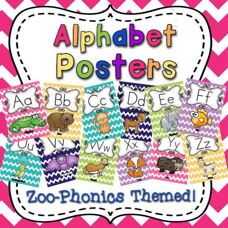Alphabet Posters for Classroom Display. Colorful Chevron Zoo-Phonics Themed Cards. Pre-K, Kindergarten, First and Second Grade.