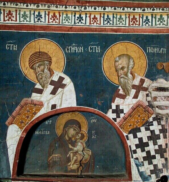 Most Holy Theotokos with St. Spyridon (at left) and St. Polycarp (at right) - as depicted in the earlier 14th-century frescoes (betw. 1335 and 1350) in the altar area of the church of the Holy Ascension at the Visoki Dečani monastery near Peć in Serbia's province of Kosovo and Metohija