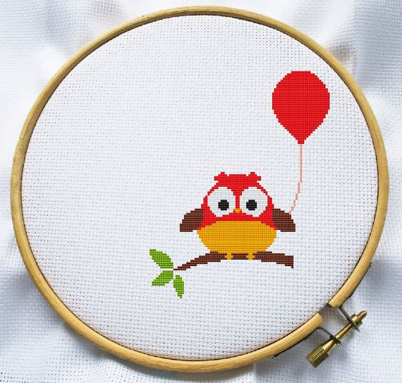 Counted cross stitch pattern, Instant Download, Free shipping, Cross-Stitch PDF, Cute Owl