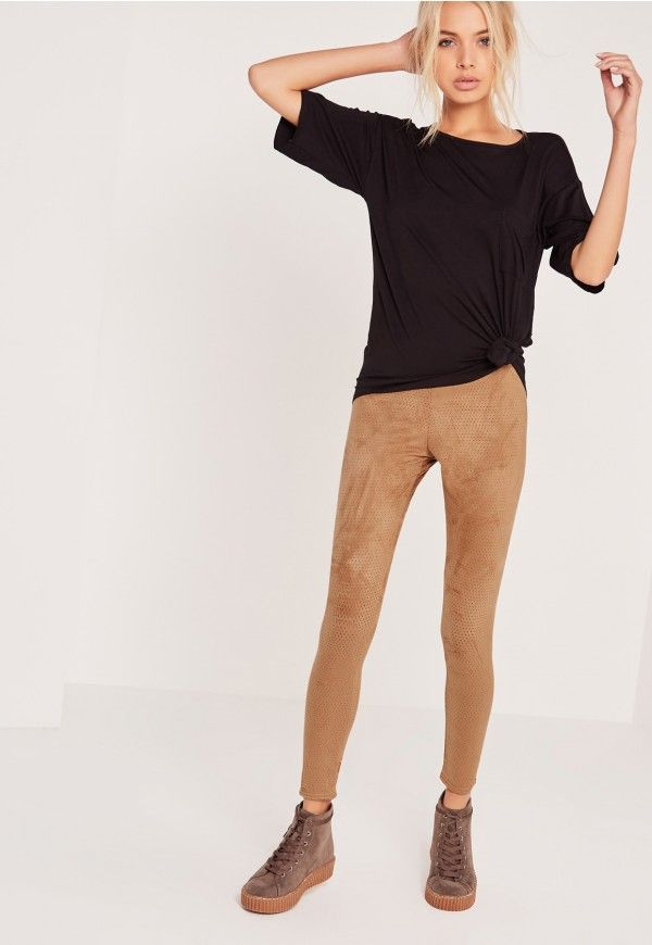 Perforated Suede Leggings Tan - Missguided