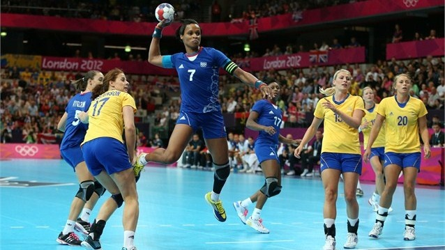 Allison Pineau of France attempts to score in their women's Handball Preliminaries Group B match against Sweden on Day 5 of the London 2012 Olympic Games at The Copper Box