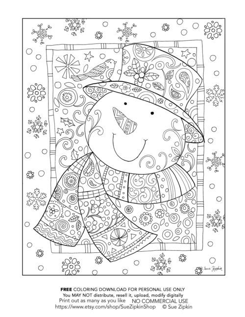 © Sue Zipkin snowman coloring page sample. Download for personal use. Purchase more pages at : https://www.etsy.com/shop/SueZipkinShop