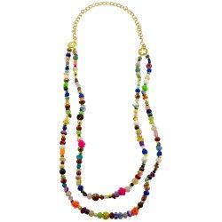 Collar largo doble diferentes piedras y multi color
