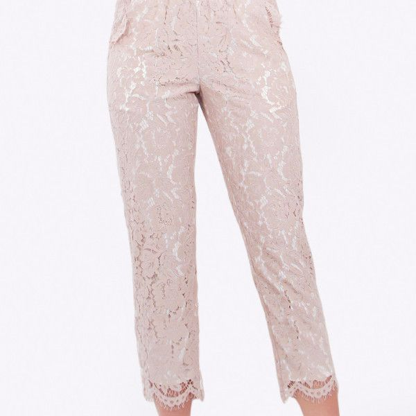 Eleanor Lace Pants-Taupe