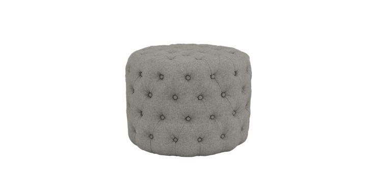 Marken Small Round Ottoman -  Colour: Stone Grey - Fabric: Signature Premium