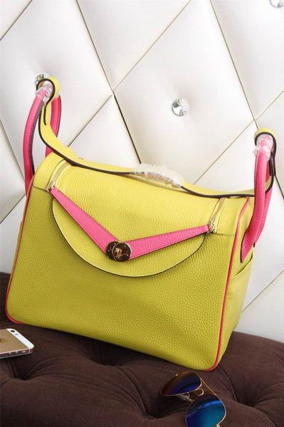 Hermes Lindy 30CM Grainy Leather Shoulder Bag H1380 Lemon - $299.00