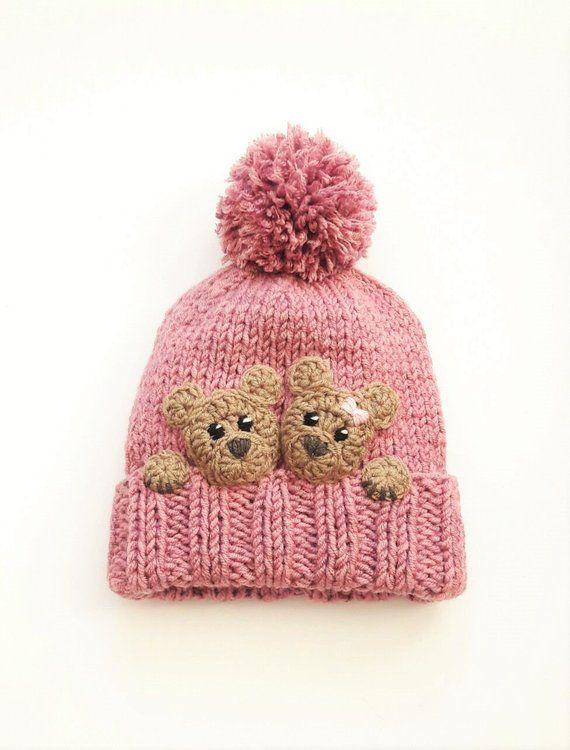 bc22b184bb9 Bear hat Kids Winter Hat Beanie Hat Knit Hat Pom Pom Hat