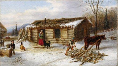 Ferme canadienne en hiver, vers 1860
