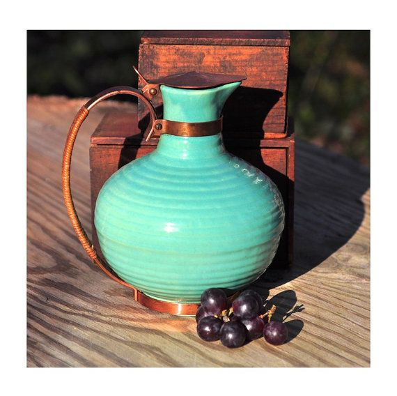 Bauer Midcentury Ring Ware Copper Top Carafe Vintage Housewares Rustic Tabletop Accessories Home Decor Housewarming Gift or Wedding Gift