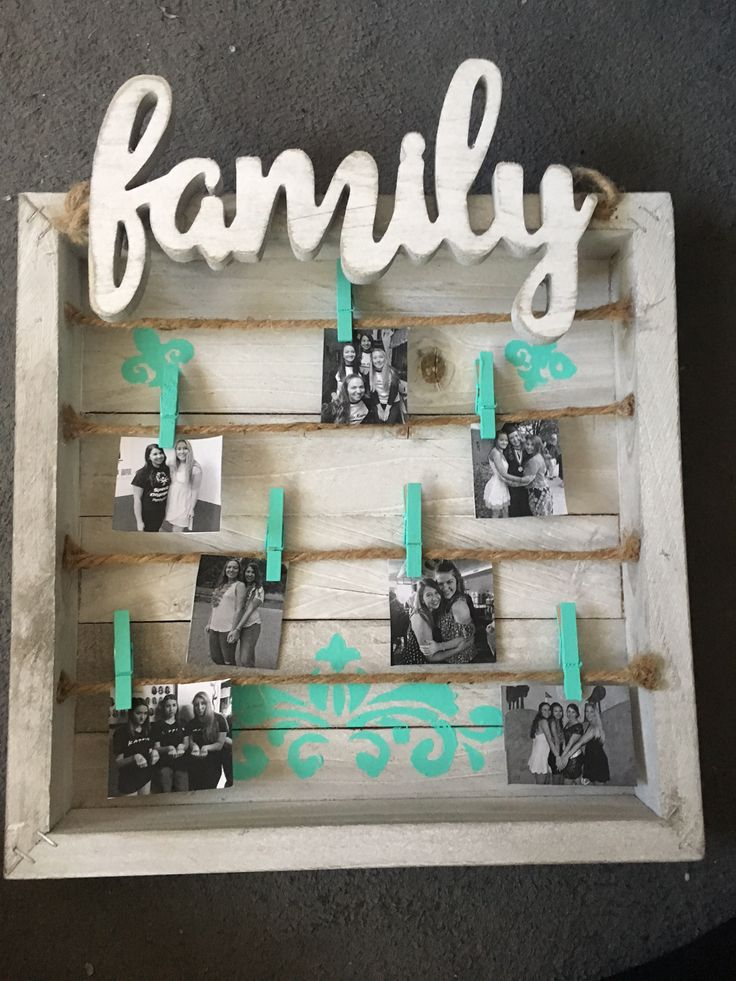 sorority, family craft. wood panel white and blue. diy big little craft box, wall decoration with pictures. clothespins picture holder