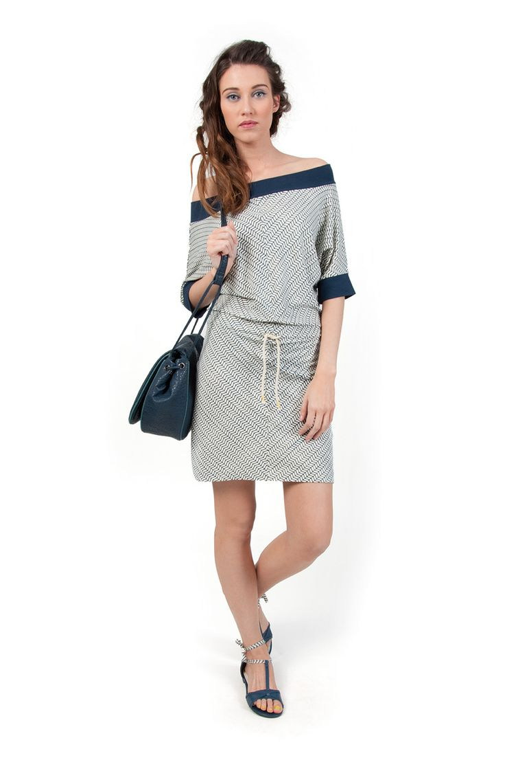 LYNN-117 SKUNKFUNK women's dress fabric content: 67% viscose + 28% organic cotton + 5% elastane color: white,yellow,blue price: $95.00