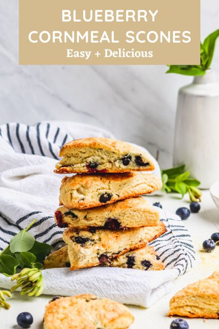Blueberry cornmeal scones are the perfect summer breakfast! Fresh blueberries and cornmeal are the perfect paring to giv…