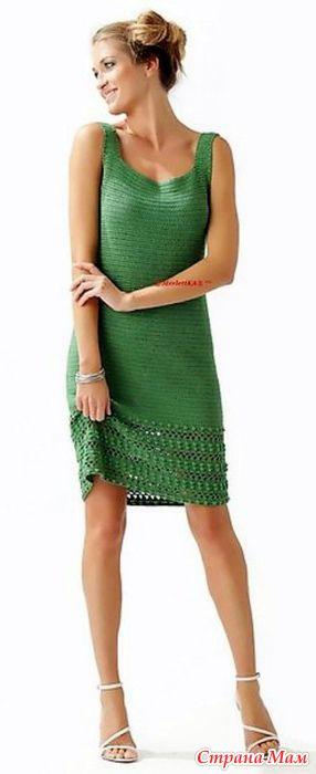 . Элегантное зеленое платье. - Все в ажуре... (вязание крючком) - Страна Мам