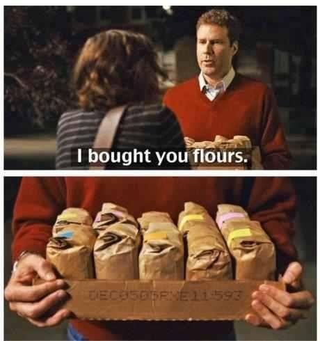 I would actually like this a lot ;)  Bread flour, cake flour, almond flour, rice flour, etc... Baking nerd ;)