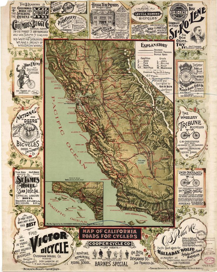 100 best world map images by kay on pinterest antique maps map of california roads for cyclers from 1896 gumiabroncs Gallery