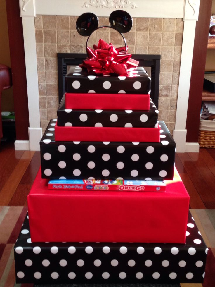 Mickey Mouse gift wrap theme.