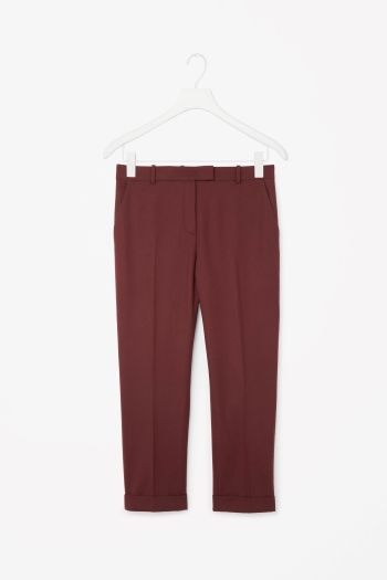COS image 2 of Straight-leg wool trousers in Crimson