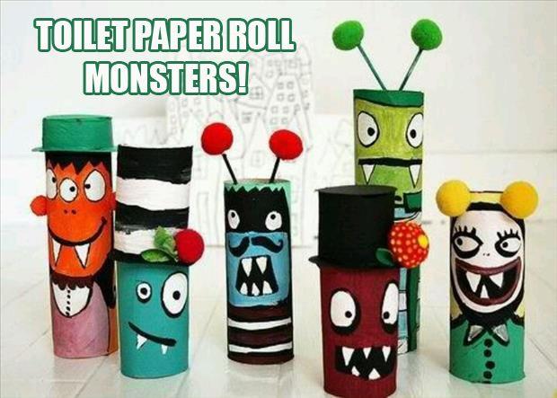 Монстры из картонной трубы от туалетной бумаги (детская поделка из картона) Детские поделки
