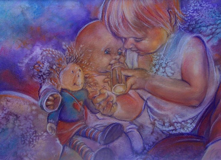Nurture, watercolour and pastel